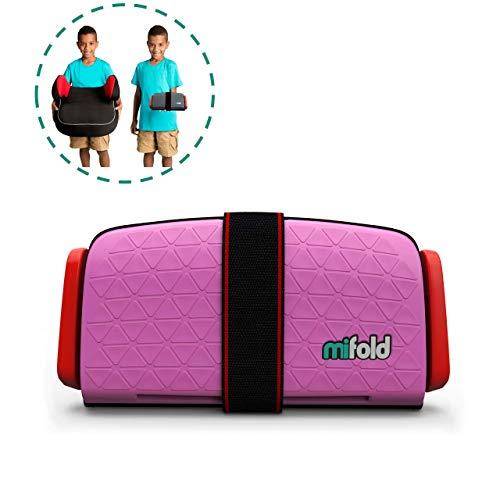 mifold Auto-Kindersitz Grab-and-Go-Booster, portabel, faltbare mobile und kleine Sitzerhöhung, Gruppe 2/3, pink
