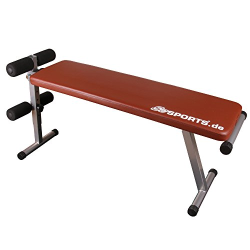 ScSports Hantelbank, Bauchtrainer klappbar, verstellbare Trainingsbank, Sit-Up Bank mit Beinfixierung, rot