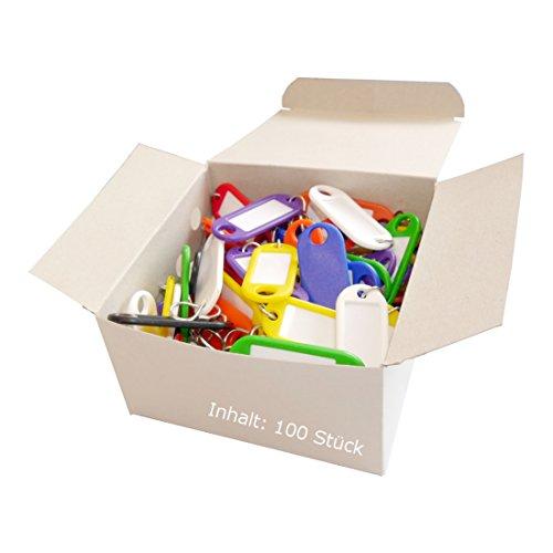 Wedo 262803499 Schlüsselanhänger (aus Kunststoff, mit S-Haken, auswechselbare Etiketten) 100 Stück, farbig sortiert